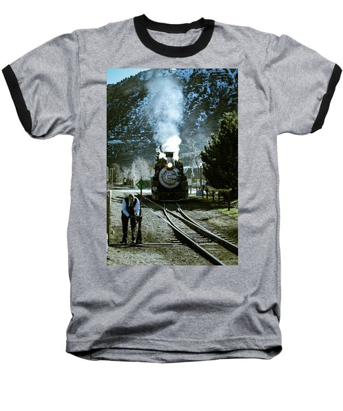 Backing Into The Station Baseball T-Shirt by Jason Coward