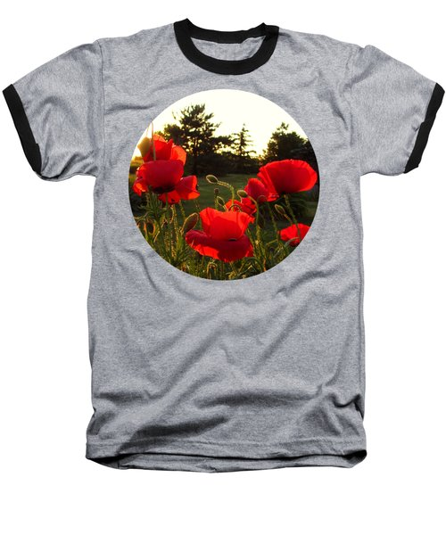 Backlit Red Poppies Baseball T-Shirt