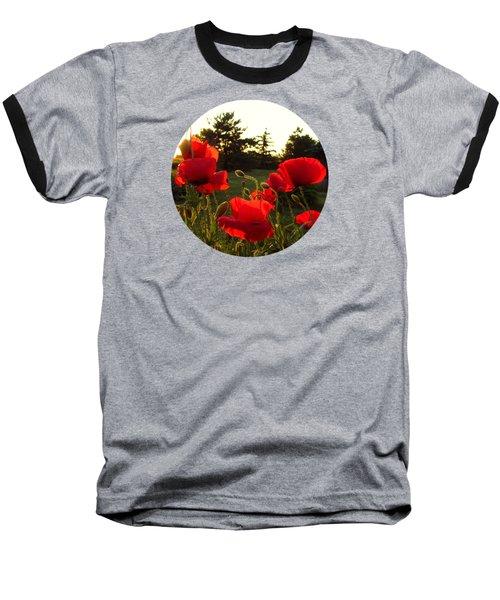 Backlit Red Poppies Baseball T-Shirt