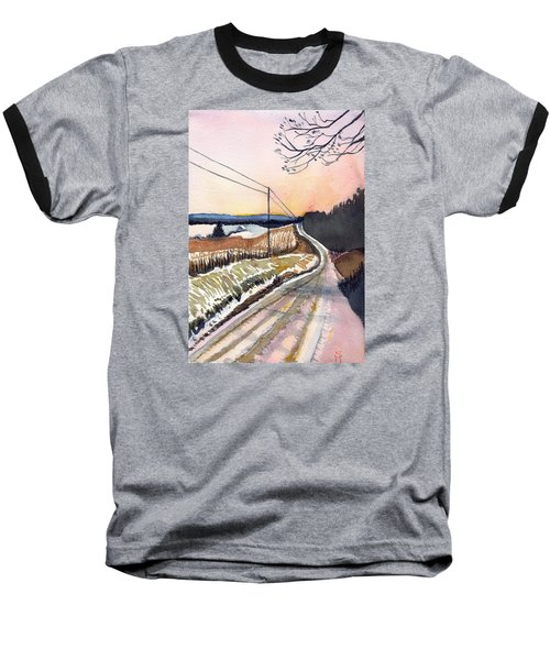 Baseball T-Shirt featuring the painting Backlit Roads by Katherine Miller