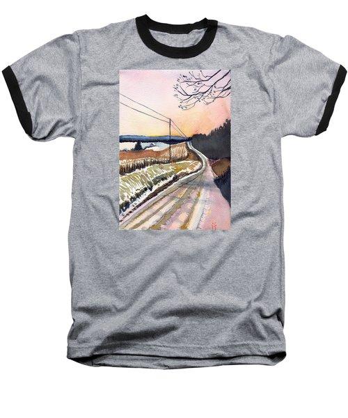 Backlit Roads Baseball T-Shirt by Katherine Miller