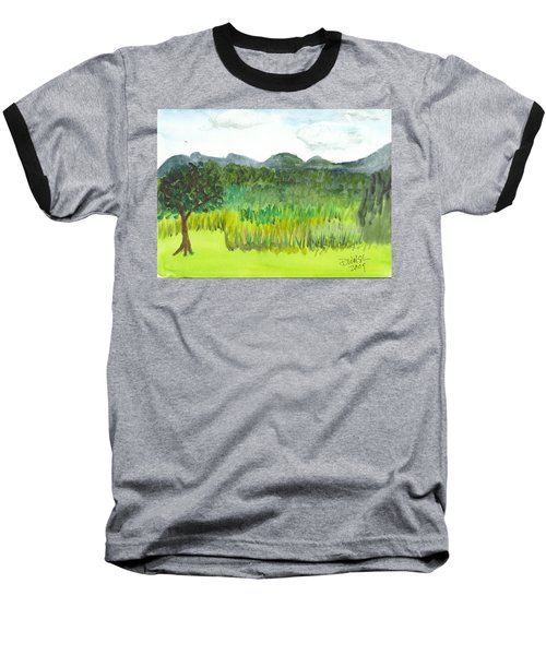 Baseball T-Shirt featuring the painting Backyard In Barton by Donna Walsh