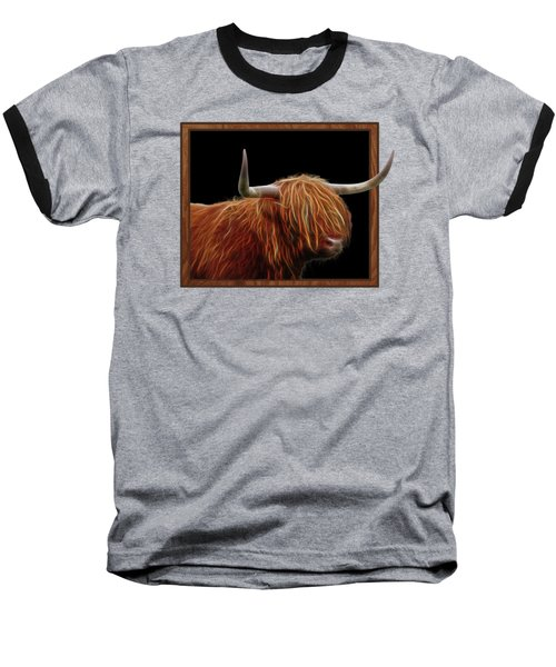 Bad Hair Day - Highland Cow - On Black Baseball T-Shirt