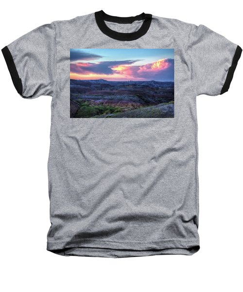Badlands Sunrise Baseball T-Shirt by Fiskr Larsen