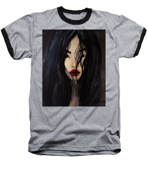 Baseball T-Shirt featuring the painting Bae Yoon Young At Backstage by Jarko Aka Lui Grande
