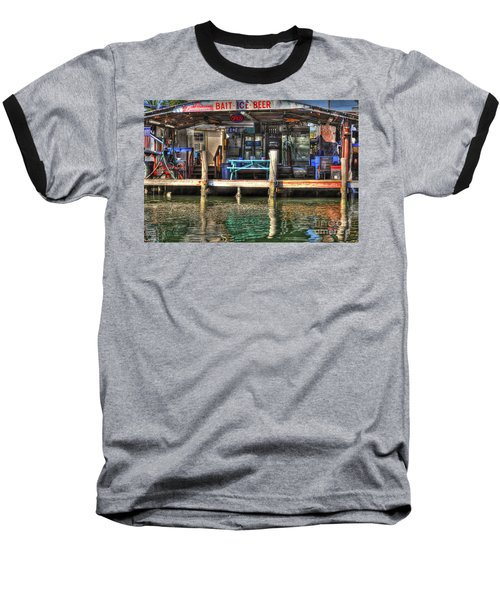 Bait Ice  Beer Shop On Bay Baseball T-Shirt by Dan Friend