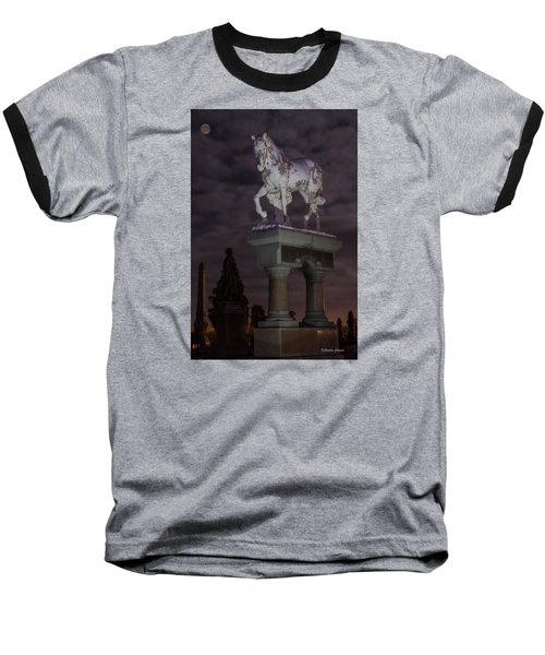 Baseball T-Shirt featuring the photograph Baker Horse Under The Full Moon by Stephen  Johnson