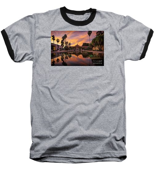 Balboa Park Botanical Building Sunset Baseball T-Shirt by Sam Antonio Photography