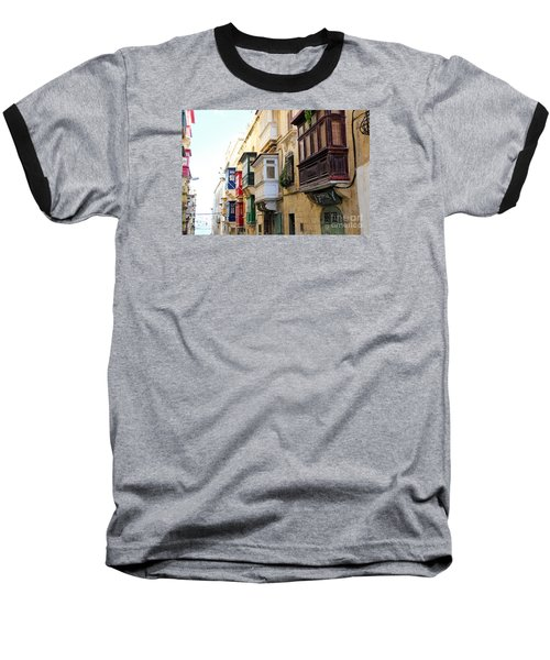 Balconies Of Valletta 3 Baseball T-Shirt
