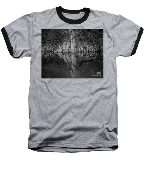 Bald Cypress Reflection In Black And White Baseball T-Shirt