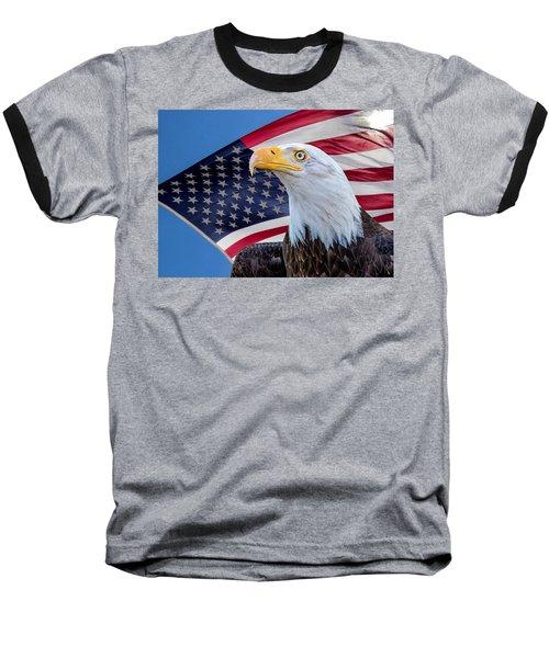Bald Eagle And American Flag Baseball T-Shirt
