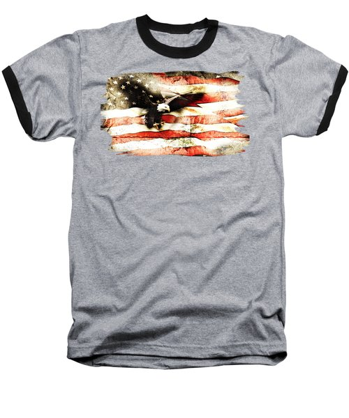 Bald Eagle Bursting Thru Flag Baseball T-Shirt