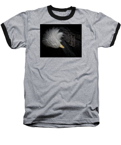 Bald Eagle Cleaning Baseball T-Shirt by Ernie Echols