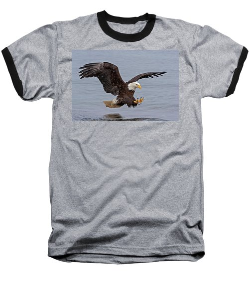 Bald Eagle Diving For Fish In Falling Snow Baseball T-Shirt