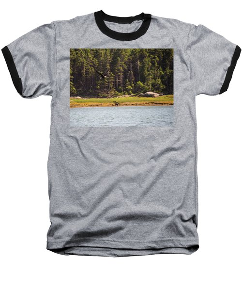 Baseball T-Shirt featuring the photograph Bald Eagle In Flight by Trace Kittrell