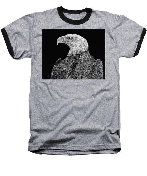 Bald Eagle Scratchboard Baseball T-Shirt by Shevin Childers