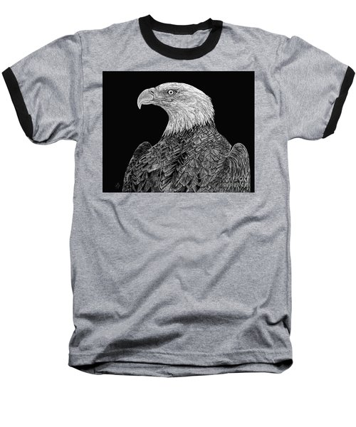 Bald Eagle Scratchboard Baseball T-Shirt