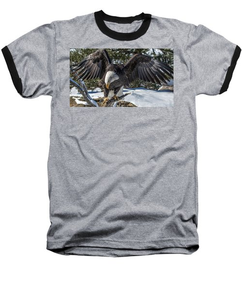 Bald Eagle Spread Baseball T-Shirt