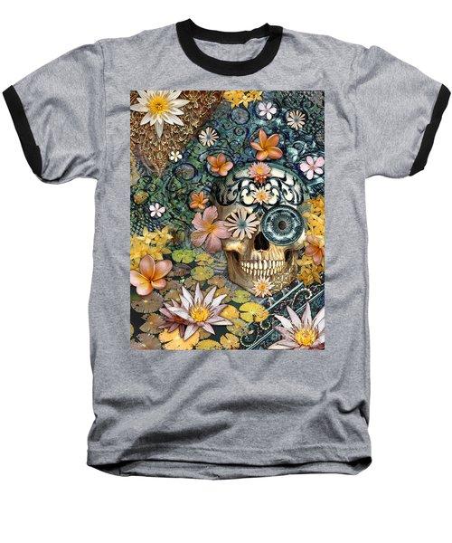Bali Botaniskull - Floral Sugar Skull Art Baseball T-Shirt