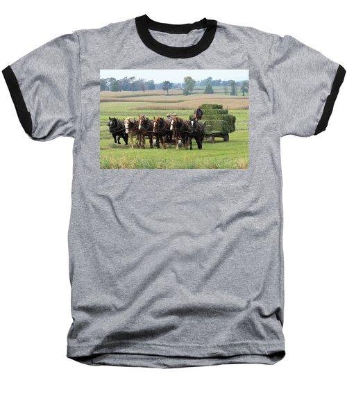 Baling The Hay Baseball T-Shirt by Lou Ford