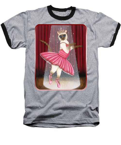 Baseball T-Shirt featuring the painting Ballerina Cat - Dancing Siamese Cat by Carrie Hawks