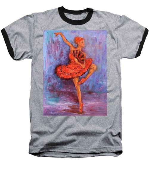 Baseball T-Shirt featuring the painting Ballerina Dancing With A Fan by Xueling Zou
