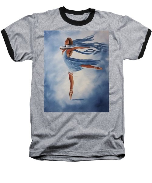 Baseball T-Shirt featuring the painting Ballerina by Edwin Alverio
