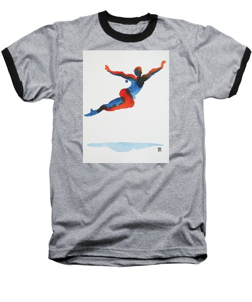 Baseball T-Shirt featuring the painting Ballet Dancer 1 Flying by Shungaboy X