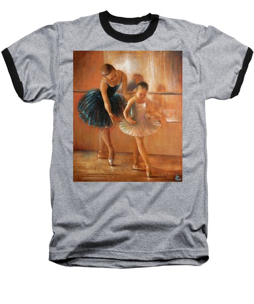 ballet lesson-painting on leather by Vali Irina Ciobanu  Baseball T-Shirt