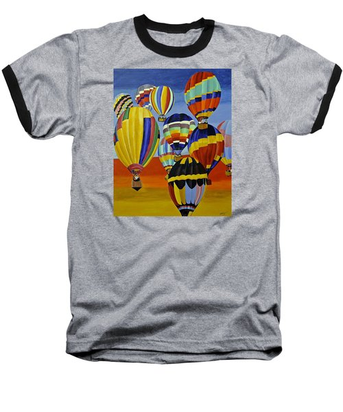 Balloon Expedition Baseball T-Shirt by Donna Blossom