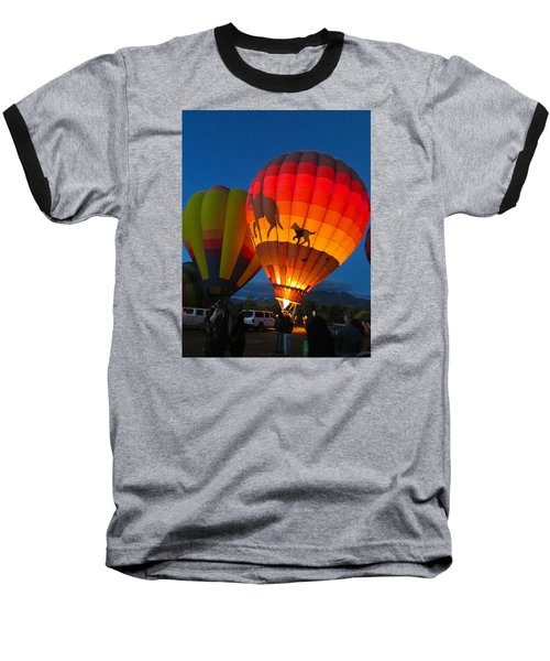 Balloon Glow Baseball T-Shirt by Brenda Pressnall