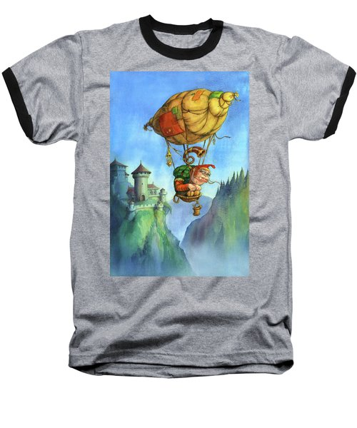 Balloon Ogre Baseball T-Shirt by Andy Catling