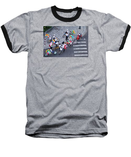 Baseball T-Shirt featuring the photograph Balloons And Bikes by Cameron Wood