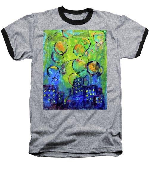Cheerful Balloons Over City Baseball T-Shirt