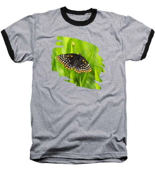 Baltimore Checkerspot Butterfly Baseball T-Shirt by Christina Rollo