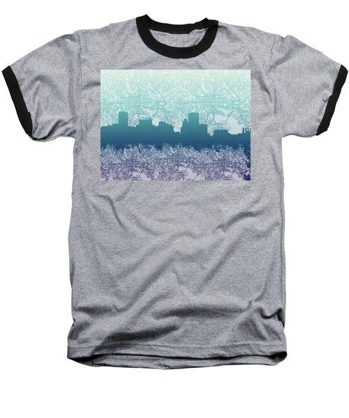 Baseball T-Shirt featuring the painting Baltimore City Skyline Map 2 by Bekim Art
