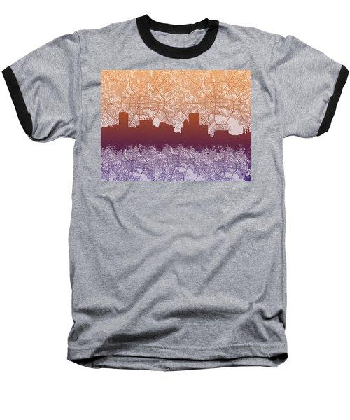 Baseball T-Shirt featuring the painting Baltimore City Skyline Map by Bekim Art
