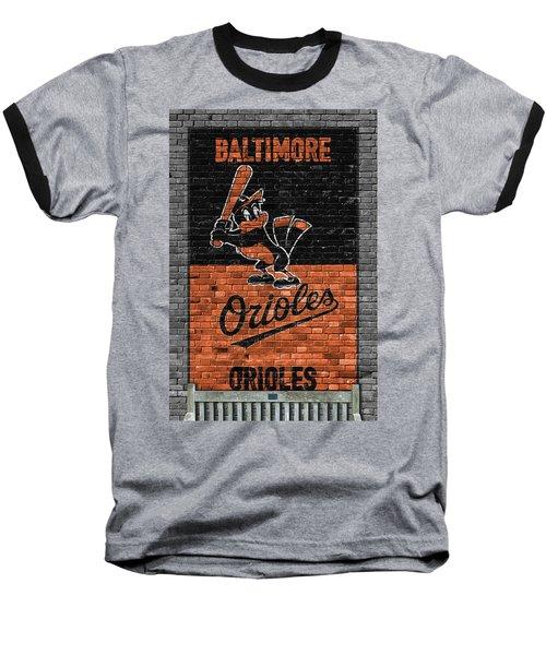 Baltimore Orioles Brick Wall Baseball T-Shirt by Joe Hamilton