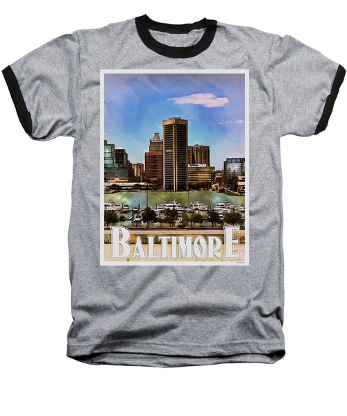 Baltimore Skyline Baseball T-Shirt by Kai Saarto