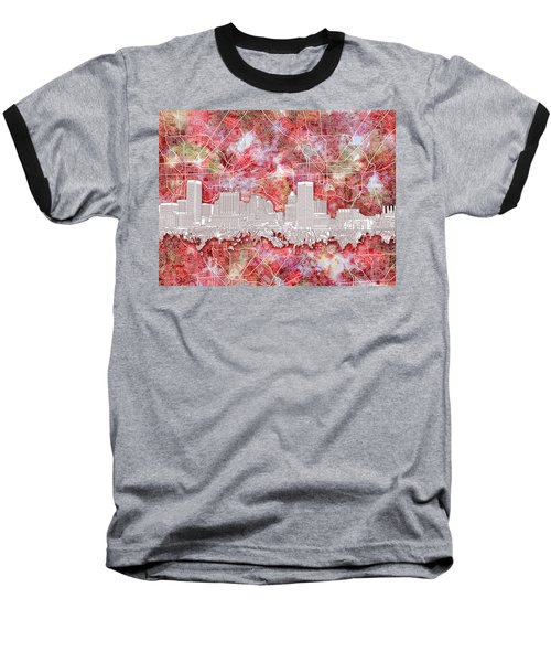 Baseball T-Shirt featuring the painting Baltimore Skyline Watercolor 13 by Bekim Art