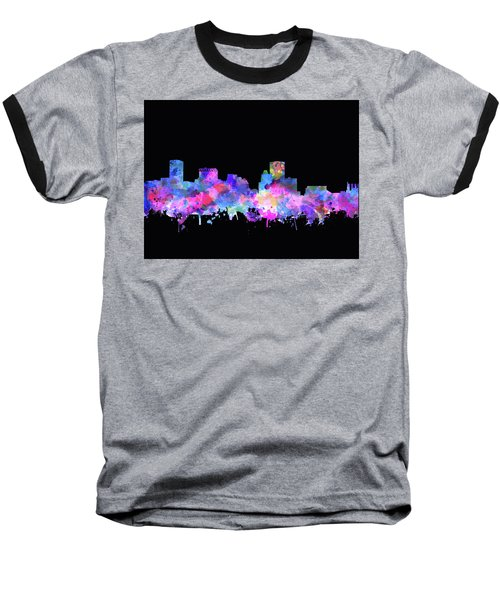 Baseball T-Shirt featuring the painting Baltimore Skyline Watercolor 5 by Bekim Art