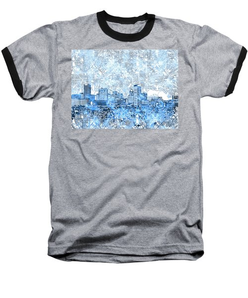 Baseball T-Shirt featuring the painting Baltimore Skyline Watercolor 9 by Bekim Art