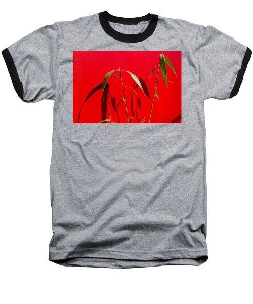 Bamboo Against Red Wall Baseball T-Shirt