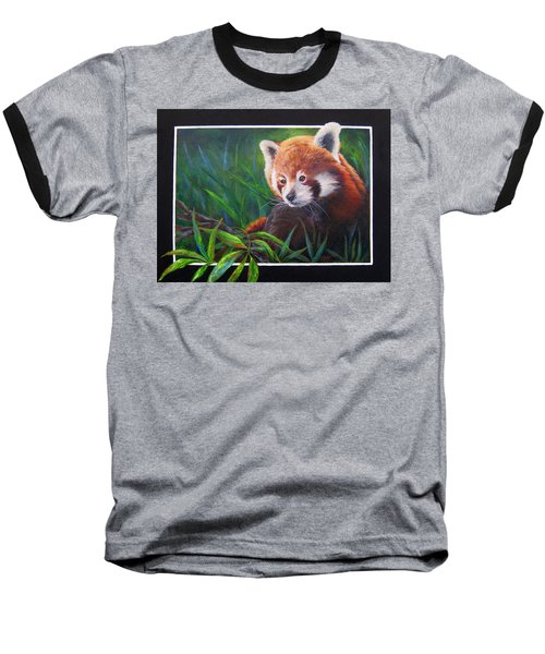 Baseball T-Shirt featuring the painting Bamboo Basking--red Panda by Mary McCullah