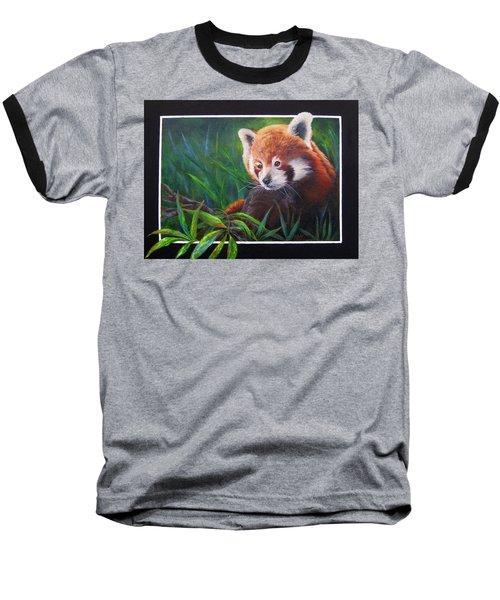 Bamboo Basking--red Panda Baseball T-Shirt by Mary McCullah