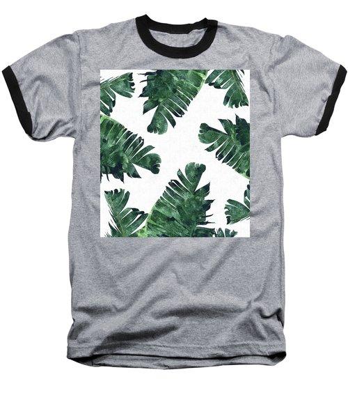 Banan Leaf Watercolor Baseball T-Shirt by Uma Gokhale