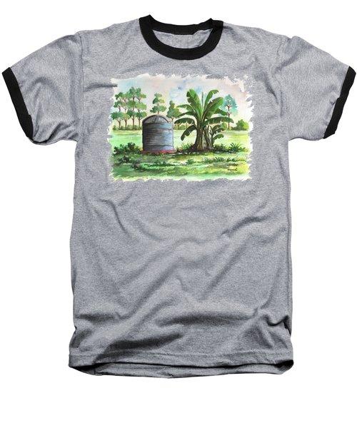 Banana And Tank Baseball T-Shirt by Anthony Mwangi