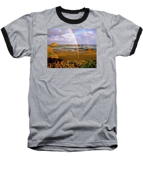 Bandon Beach Rainbow Sunrise Baseball T-Shirt