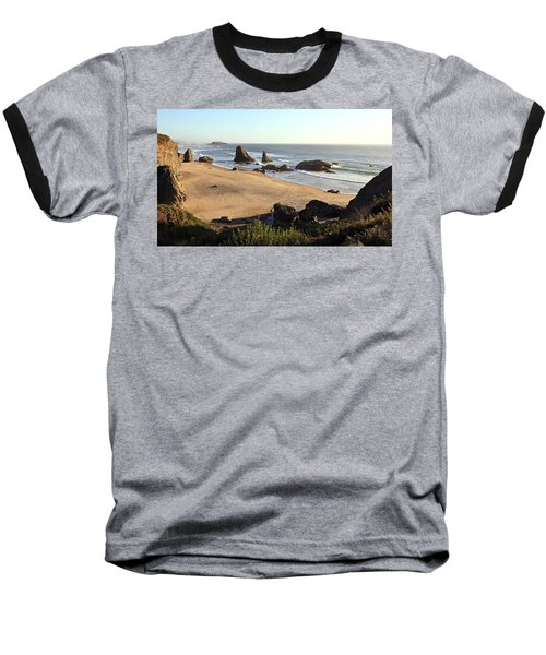 Bandon Beachfront Baseball T-Shirt by Athena Mckinzie