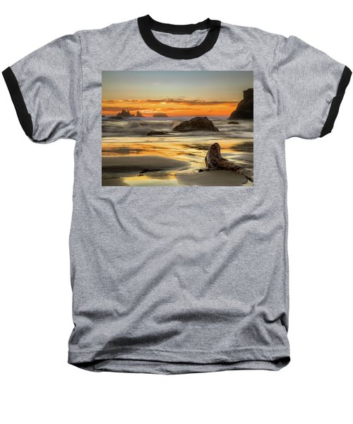Bandon Orange Glow Sunset Baseball T-Shirt